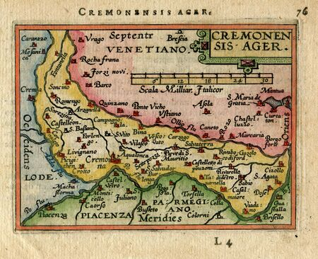 Antique Map  Cremonsis Ager. Cremona. Italy  1600