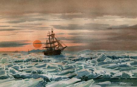 Vintage Art  MARINE ARCTIC ICE SAILING SHIP 1894 Banco de Imagens