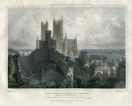 Vintage Art: Lincoln Cathedral UK 1829