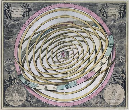 Vintage Old Orbium Planetarium-  Earth is center of Universe Banco de Imagens - 74257778