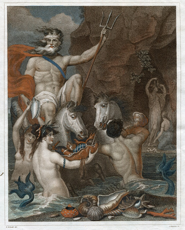 Vintage  Art 1805 : NEPTUNE OR  POSEIDON CONSTRUCTED OF A CHAMA SHELL,DRAWN BY SEA-HORSES