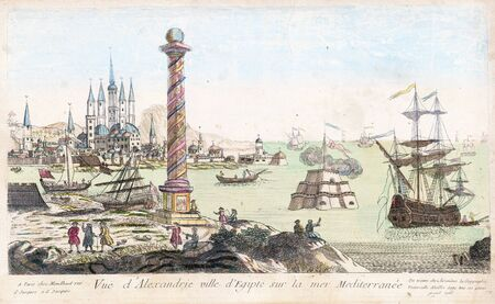 Vintage Art : View of Alexandria Egypt - Red Sea port 1770