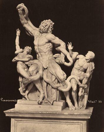 Vintage Photo Laocoon sculpture in Vatican museum, Laocoon and his sons 1860 Banco de Imagens