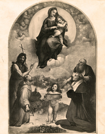 Vintage Photo 1880-1930 The Madonna of Foligno oil painting  of Raphael , dated to 1511 - 1512 and preserved in the Vatican Gallery in Vatican City .