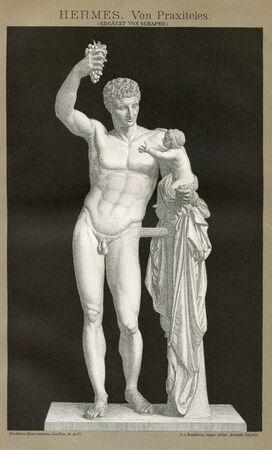 Vintage Art 1894 HERMES of PRAXITELES OLYMPIA GREECE