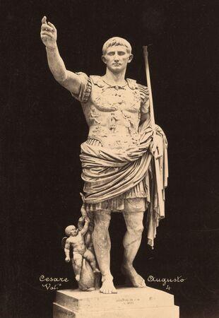 Vintage Photo Cesare Augusto  in Vatican museum  1860