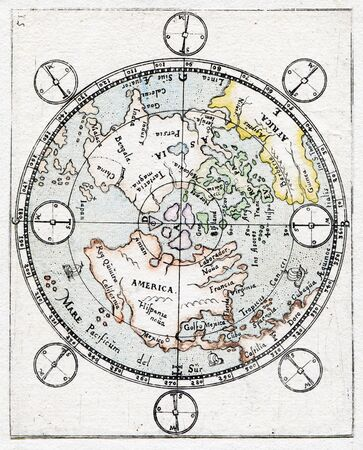Rare Antique Map 1719  north pole and artic circle