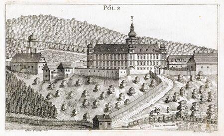View  of  Pöls Castle in the Topographia Ducatus Stiria, Austria  1680 Editorial