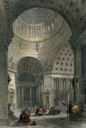 Vintage Photo 1830 Interior of Kazan Cathedral in St.Petersburg ,Russia Banco de Imagens