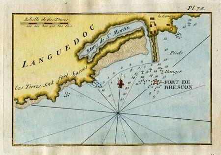 Antique Map St. Martin pond & Brescon Fort map, Languedoc, France 1760