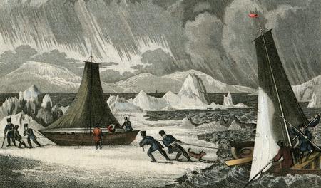 Vintage Art: 1830 Ship and Icebergs gulf of Bothnia, Scandinavia