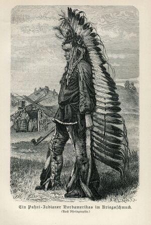 Vintage Photo 1890 NATIVE  AMERICAN INDIAN MAN WEARING PATANI WAR CLOTHING FEATHER HEADDRESSES CHIEF