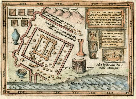 Antique Map 1618 Ancient Roman fort and town of Lugdunum Batavorum Banco de Imagens