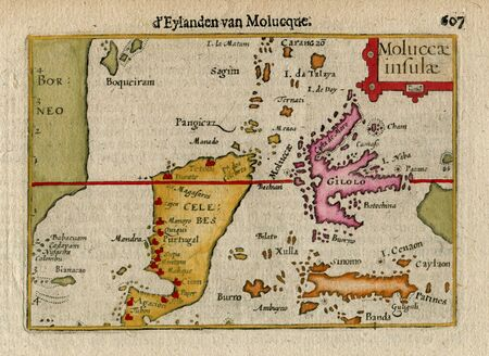 celebes: Antique Map  of E. INDIES, INDONESIA, MOLUCCA Is. CELEBES  1606 Stock Photo