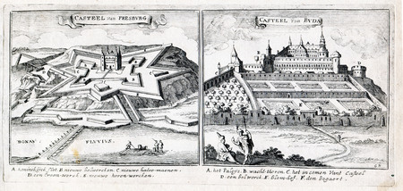 Ancient Art  Great Turkish War 1689: Castle of Presburg(now Bratislava, the capital of Slovakia )  and Castle of Buda (now Budapest in  Hungary)