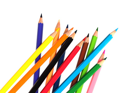 line of colored pencils Stock Photo