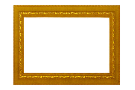 Picture frame isolated on white background, empty antique golden frame for painting or photo.