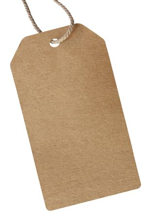 blank cardboard price label tied with rope for show price or discount on product isolate on white background.