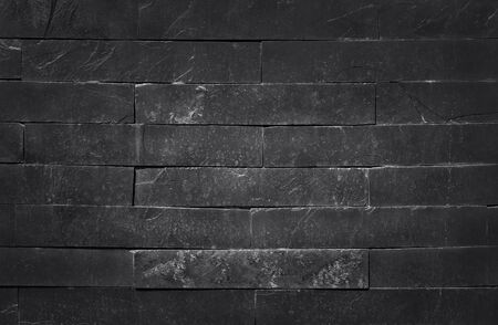 Dark grey black slate texture with high resolution, pattern of stone brick wall for background and design art work. Reklamní fotografie