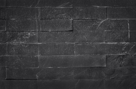 Dark grey black slate texture with high resolution, pattern of stone brick wall for background and design art work. Foto de archivo - 134849928