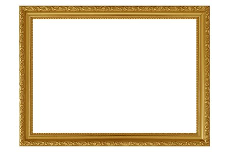 Golden vintage picture frame isolated on white background.