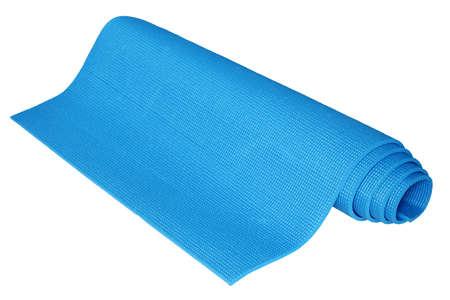 Light blue yoga mats isolated on white background