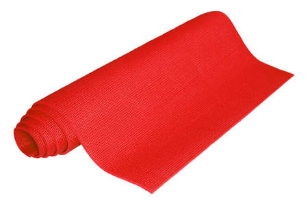 Red yoga mats isolated on white background 免版税图像