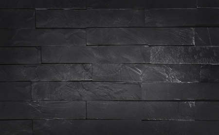 Dark grey black slate texture with high resolution, pattern of stone brick wall for background and design art work. 免版税图像