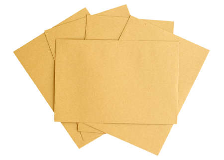 Blank brown business envelopes document isolated on white background