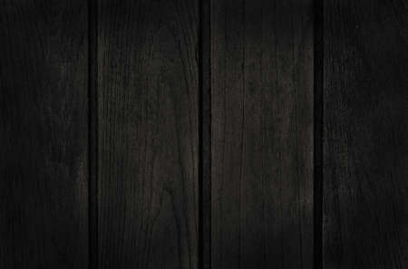 Black wooden plank wall background, texture of dark bark wood with old natural pattern for design art work, top view of grain timber. Imagens