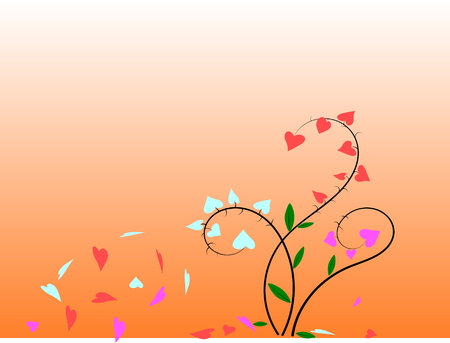 The tree with pink heart-shaped leaves, red, blue and leaves falling because of the wind, on orange background,vector and illustration.