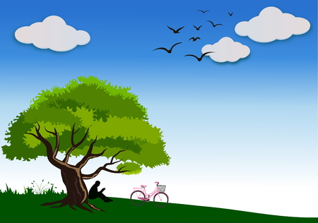 women sitting reading a book under a big tree on Bright blue day, group of birds flying through ,vector and illustration