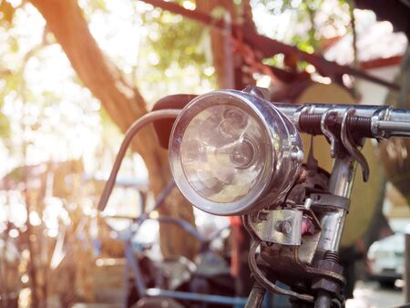 Closeup of old bicycle lights with selective focus.