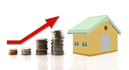 Thai bath coins money setting growth up increase and rendering 3d house model isolate on white background ,business concept investment mortgage finance.