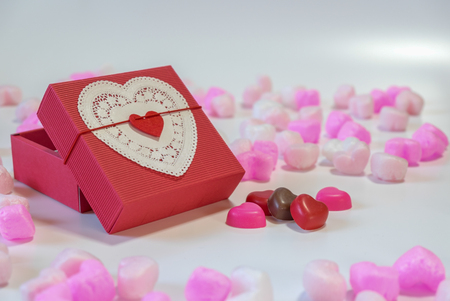 heartshaped: Red heart-shaped gift box and heart-shaped chocolate