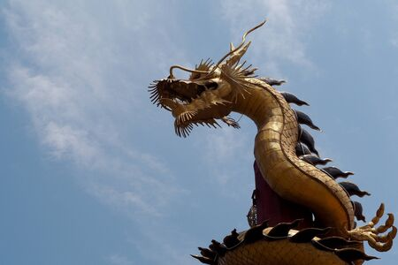 style: Dragon statue on blue sky background