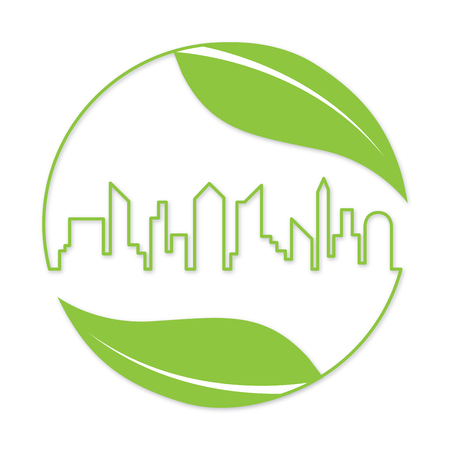 globe logo: Green city. Ecology friendly and save the earth concept. Save life and environment background. Illustration of building and nature. Illustration