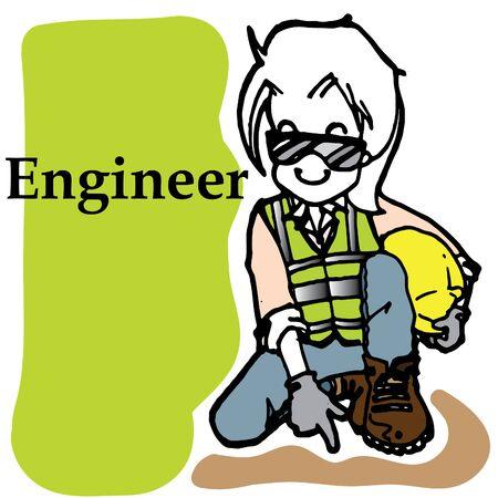 civil construction: Lady engineer cartoon character