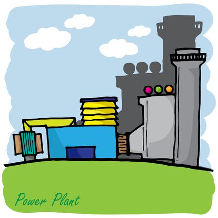power transformer: power plant engineering cute vector