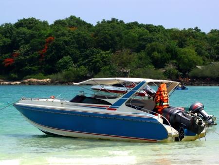 Speedboat floating on the sea