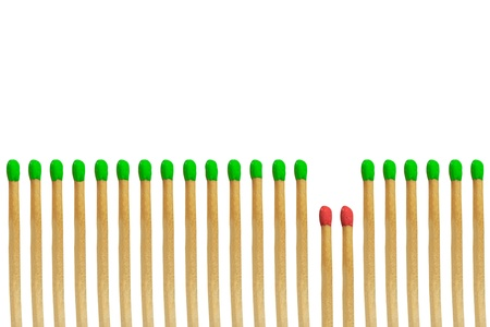 Red matchstick loser concept isolated on white background