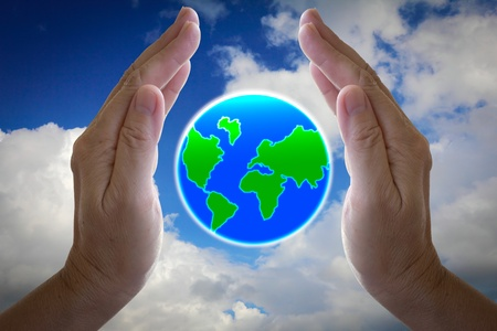 water ecosystem: abstract globe in the hand, protect our world Stock Photo