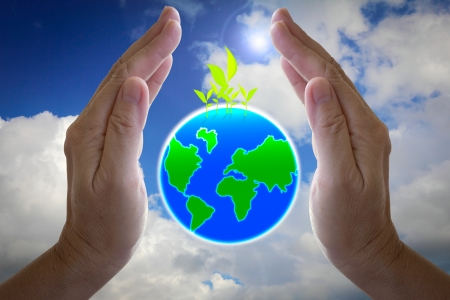 abstract globe in the hand, protect our world, save the earth Stock Photo - 16783967