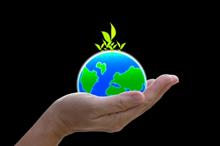 abstract globe in the hand, protect our world, save the earth Stock Photo - 16783964