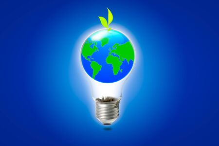 abstract globe in the light bulb with plant growing up, protect our world, save the earth photo