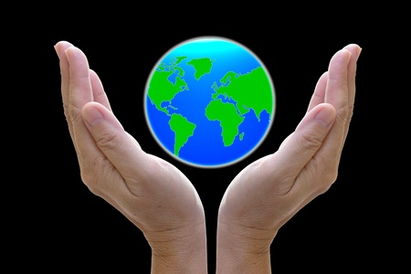 abstract globe in the hand, protect our world, save the earth photo