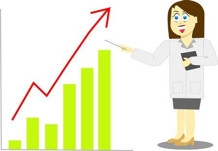 woman and graph Vector