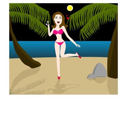 Lady on the beach Vector