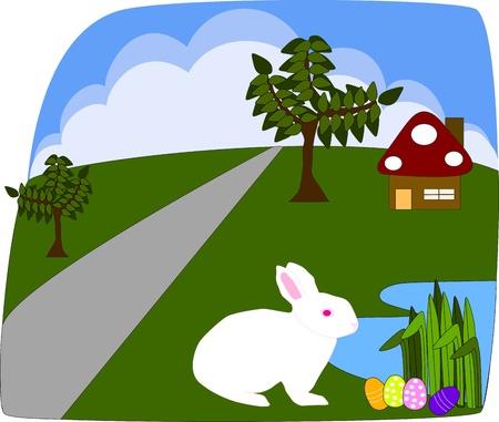 White rabbit finding Easter egg  Stock Vector - 19071045