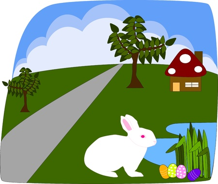 White rabbit finding Easter egg Stock Vector - 19071045